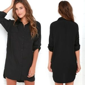 Lulu's City Strut Black Button Down Shirt Dress